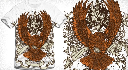Apparel T-Shirt Design with Eagle and Ribbon