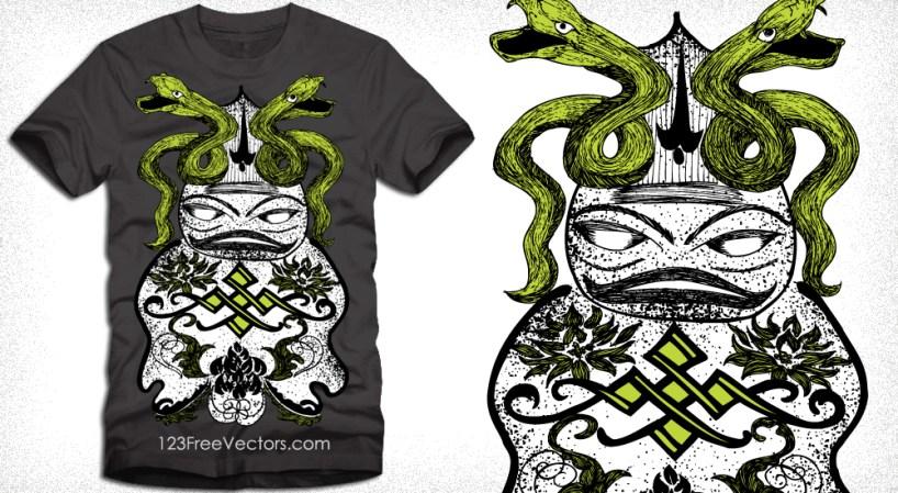 Snake with Cartoon Vector T-Shirt Designs