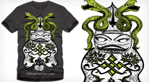 Snake with Cartoon Vector T-Shirt Designs