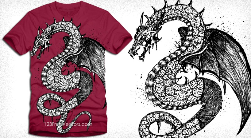Vector T-Shirt Illustration with Flying Dragon