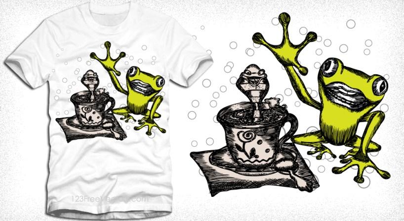 Vector Cartoon Frog T-Shirt Design
