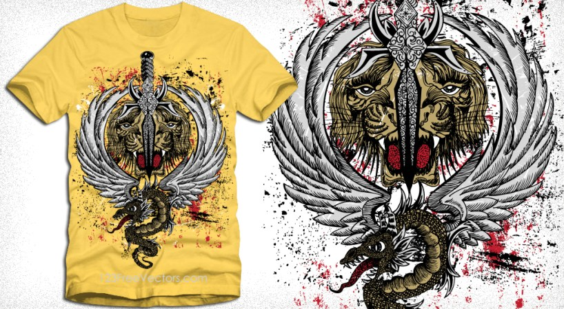 Tiger Head with Wings, Sword and Dragon Vector T-Shirt Design