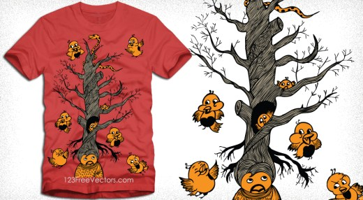 Vector T-Shirt Design with Cute Bird, Cartoon Tree