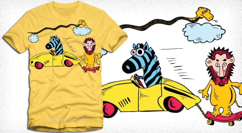 Cartoon Lion with Zebra, Snake and Car Vector T-Shirt Design