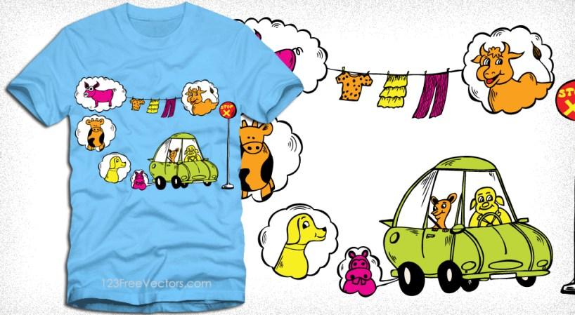 Cute Funny Vector Cartoon Animals Tee Graphics Design