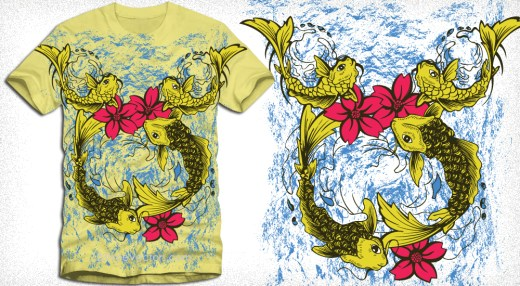 Vector T-Shirt Design with Fish and Flowers