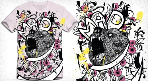 Vector T-Shirt Design with Bear and Flowers