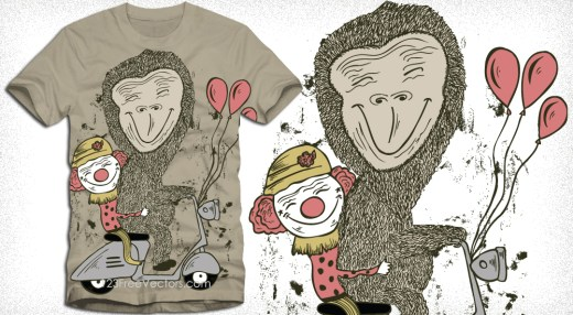 Cartoon Bear and Funny Clowns Riding Scooter Vector T-Shirt Design