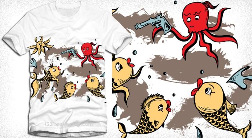 Sea Creatures Cartoon Octopus and Fish Vector T-Shirt Design