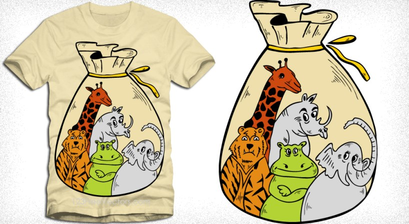 Cute Cartoon Jungle Animals in Sack Vector T-Shirt Design