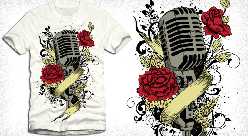 Music Vector T-Shirt Graphics with Microphone, Flowers and Ribbon