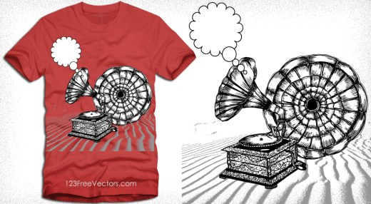Vintage Gramophone Vector Tee Graphics Design