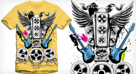 Vector Music T-Shirt Design with Speakers, Guitar and Wings