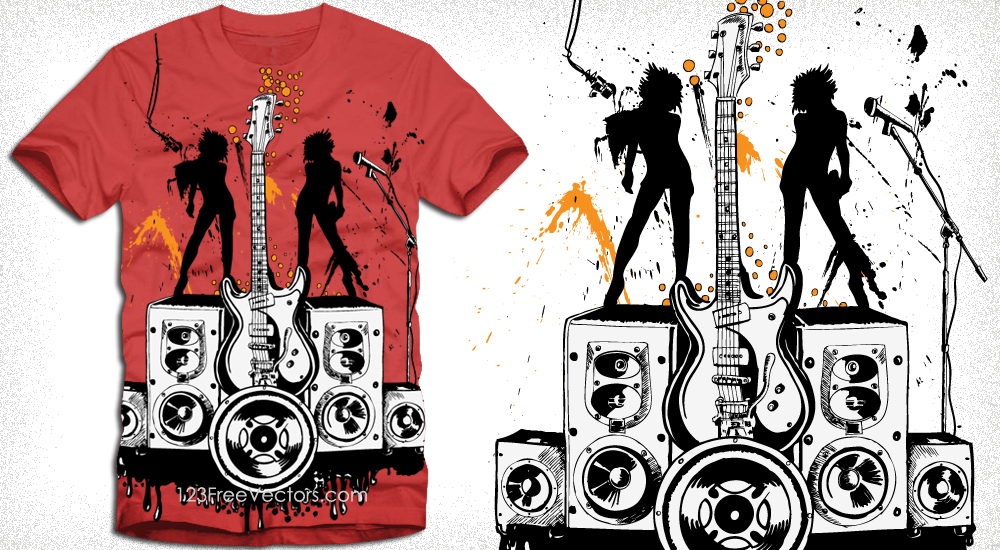 e0f864e5 Party Girls with Loudspeaker and Guitar Vector Tee Design