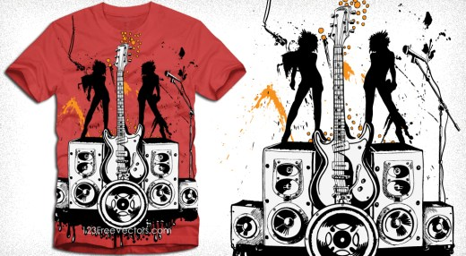 Party Girls with Loudspeaker and Guitar Vector Tee Design