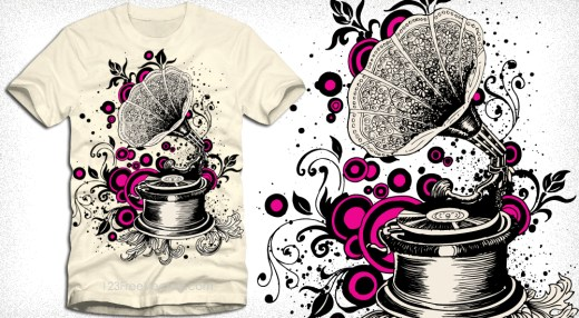 Vintage Gramophone Vector T-Shirt Illustration