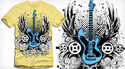 Winged Guitar with Floral and Speakers Vector Tee Design