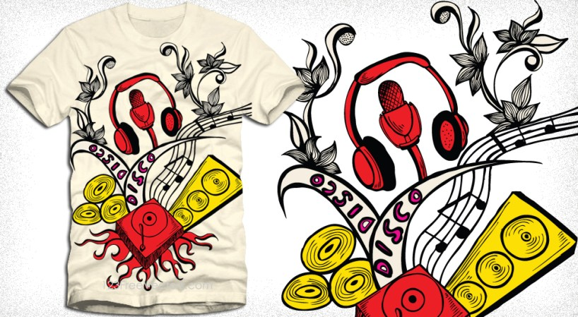 Vector Tee Design with Turntable, Headphone, Speakers and Music Notes