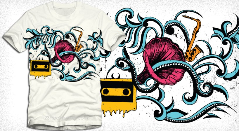 Vector T-Shirt Illustration with Gramophone, Floral and Cassette