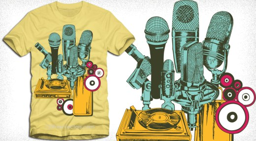 Vintage Microphone with Turntable Vector T-Shirt Design