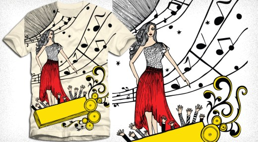 Beautiful Girl with Music Notes Vector Tee Design