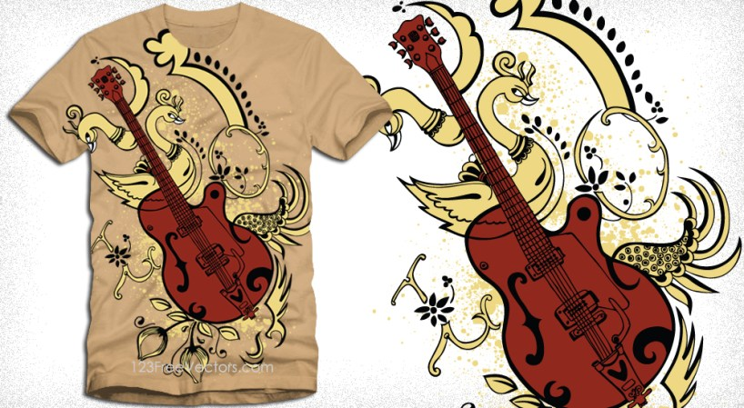 Guitar with Peacock Vector T-Shirt Design Illustration