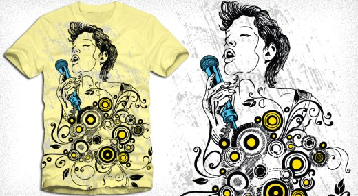 Apparel Vector T-Shirt Design with Singing Girl
