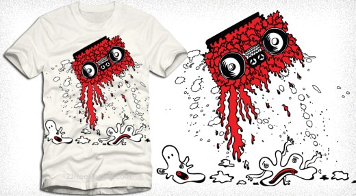 Music T-Shirt Graphics with Cassette and Cartoon Bubbles