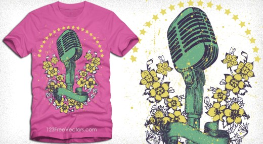Vector Music T-Shirt Design with Vintage Microphone and Flowers