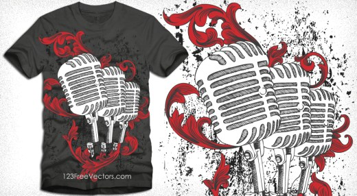 Vector T-Shirt Design with Microphone and Floral