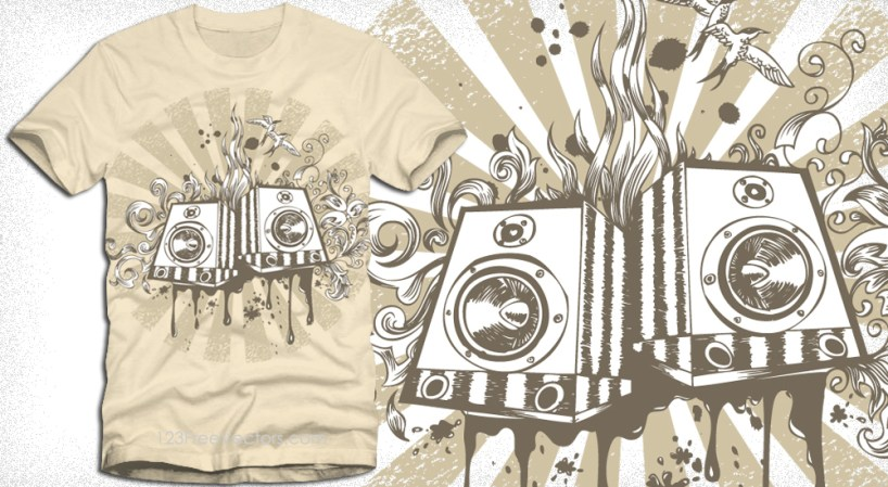 Vector Music, Loudspeaker T Shirt Design with Floral Graphics
