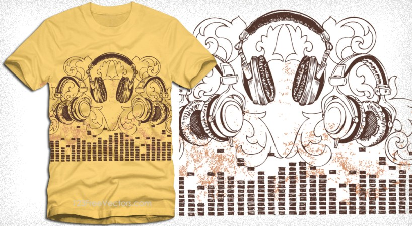 Headphone with Floral Vector T-Shirt Design