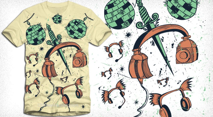 Flying Headphones with Sword Vector T-Shirt Design