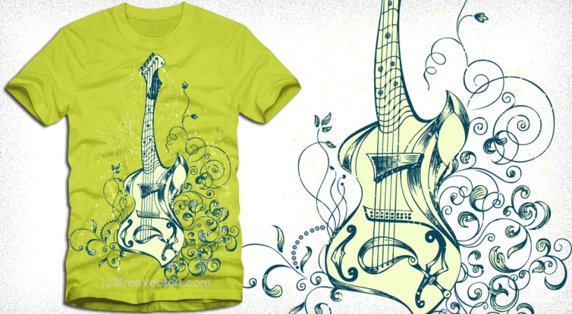 Acoustic Guitar with Floral T-Shirt Design Vector