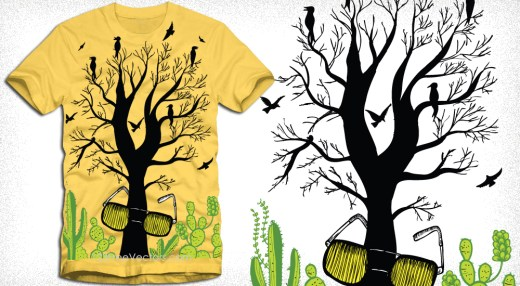 Vector Tree with Eyeglass Apparel T-Shirt Design