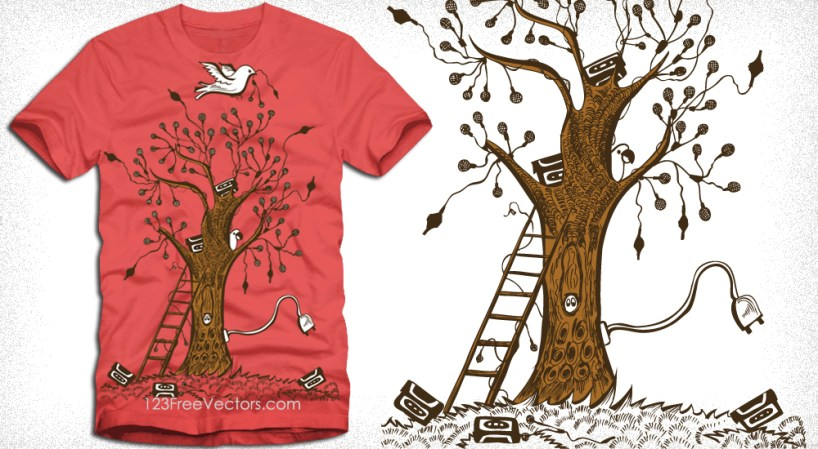 Music Tree with Bird Vector Tee Design Illustration