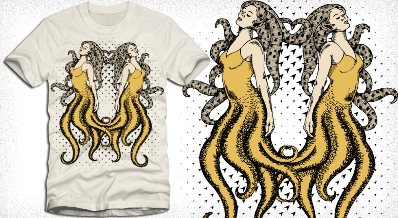Mermaids Vector T-Shirt Design