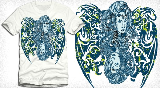 Woman with Floral Vector T-Shirt Design