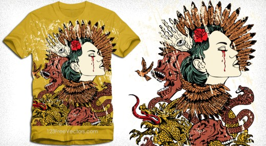 Vintage T-Shirt Design with Woman, Skull, Snake and Dragon