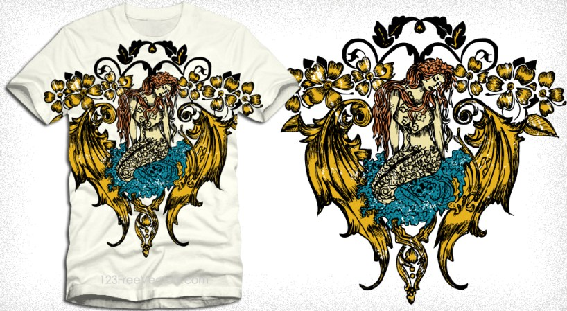 Mermaid Angel with Flowers Vector Tee Graphic Design