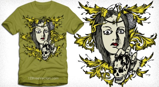 Vector Tee Design with Woman, Skull and Floral