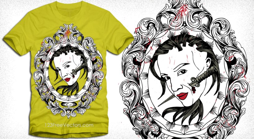 Woman with Vintage Floral Frame Vector T-Shirt Design
