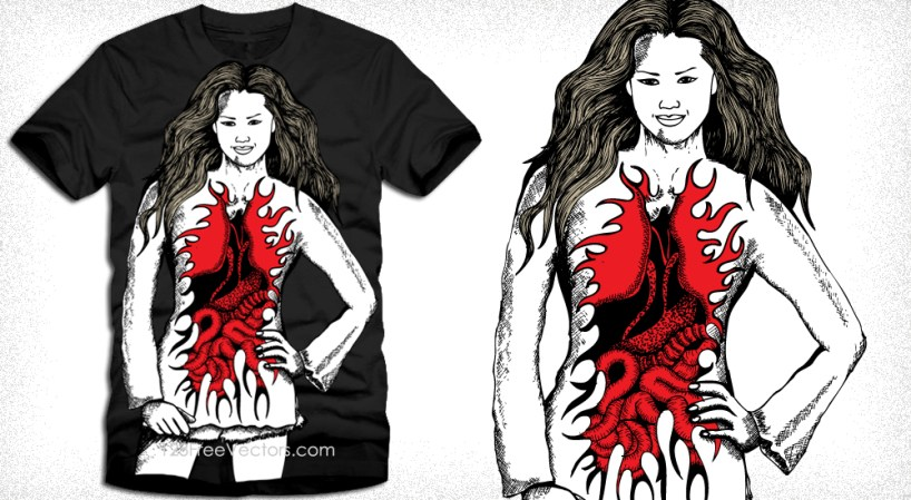 Devil Angel Woman Vector T-Shirt Design