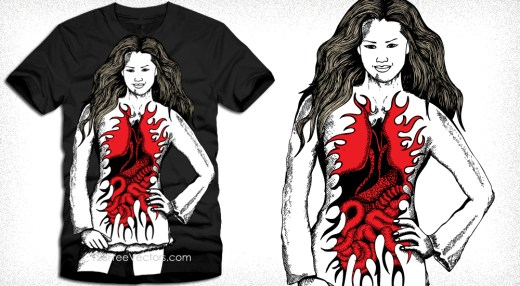 Devil Angel Woman Vector T-Shirt Design