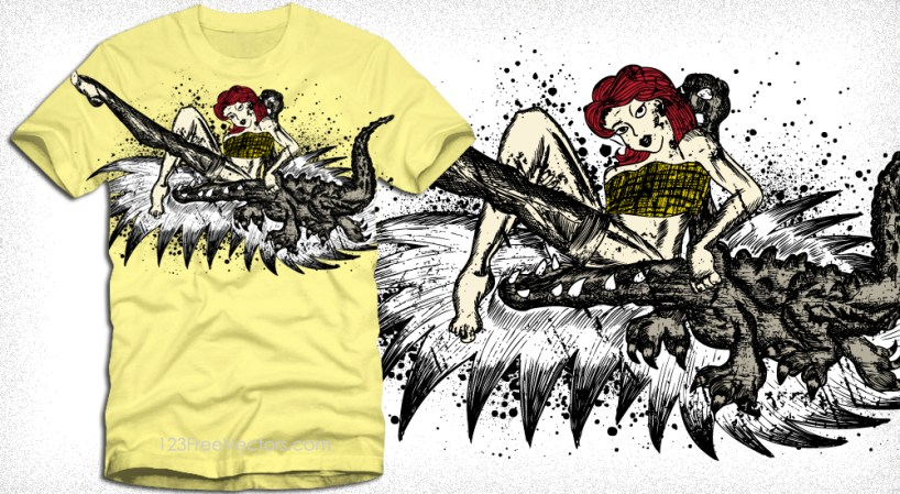 Vintage Pin-Up Girl with Crocodile Vector T-Shirt Design