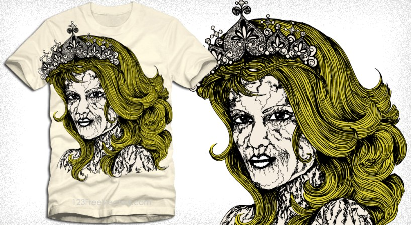 Vector T-Shirt Design with Victorian Women