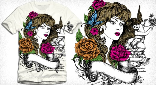 Vector T-Shirt Design with Beautiful Woman, Cupid Angel and Flowers