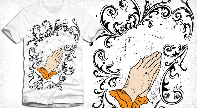 Vector T-Shirt Graphic Design with Preying Hands and Floral