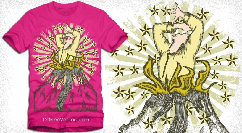 Vector Tee Graphics Design with Woman, Star and Sunburst