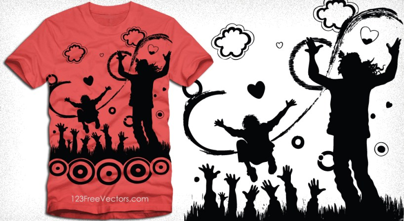 Dancing People Vector T-Shirt Design